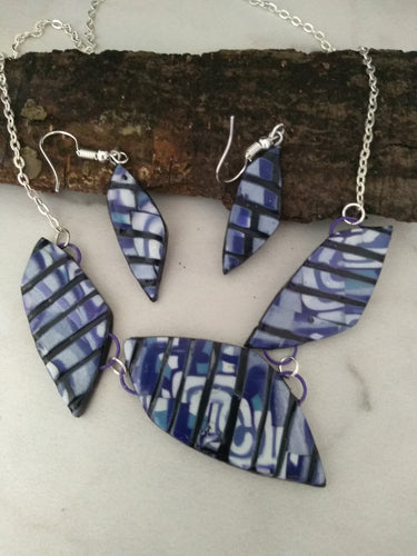 Deep Purple Mosaic  Stone Statement Necklace set - thepurplecove.com