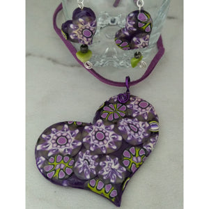 Purple Flowers Heart Set