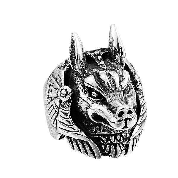 'Anubis' Egyptian Guardian of the Dead 316L Stainless Steel Men's Ring - Rebel Stones