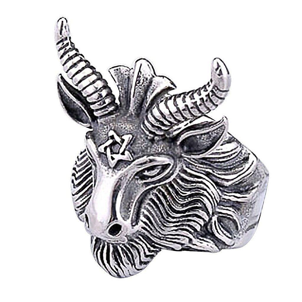 Goat's Head Sigil of 'Baphomet' 316L Stainless Steel Men's Ring