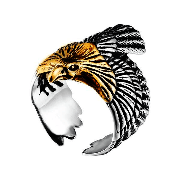Men's /Unisex Flying 316L Stainless Steel 'Eagle of Freedom' Wings Ring - Rebel Stones