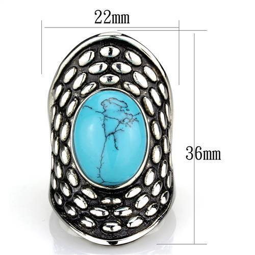 New! Turquoise Fan Stainless Steel Ring