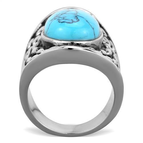 New! Turquoise Fan Stainless Steel Ring - Rebel Stones