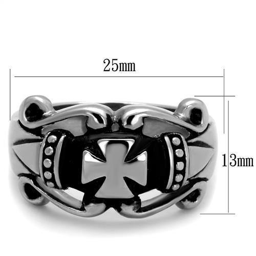 New! Intricate Iron Cross Stainless Steel Ring