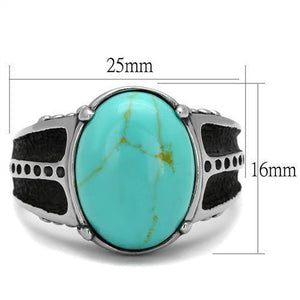"New! Black and ""Turquoise"" Stone Stainless Steel Ring"