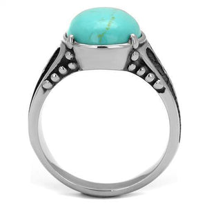 "New! Black and ""Turquoise"" Stone Stainless Steel Ring - Rebel Stones"