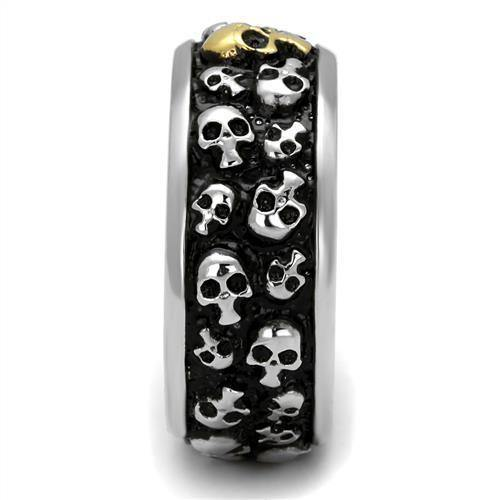 New! Two-toned Wall of Skulls Stainless Steel Ring Band - Rebel Stones