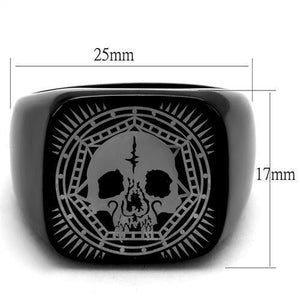 New!! Black Skull Mandala Stainless Steel Ring - Rebel Stones