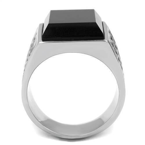 New! Jet Stainless Steel Ring - Rebel Stones
