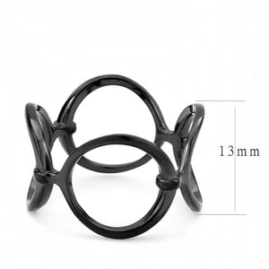 New! Linked Black Stainless Steel Ring