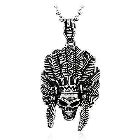 'Chief Skull' Necklace 316 Stainless Steel - Rebel Stones