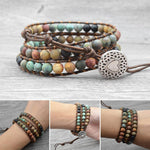 Bohemia Jewelry Bracelets Matte Stone Wrap Leather Bracelets Vintage 3 Strands Multilayer Woven