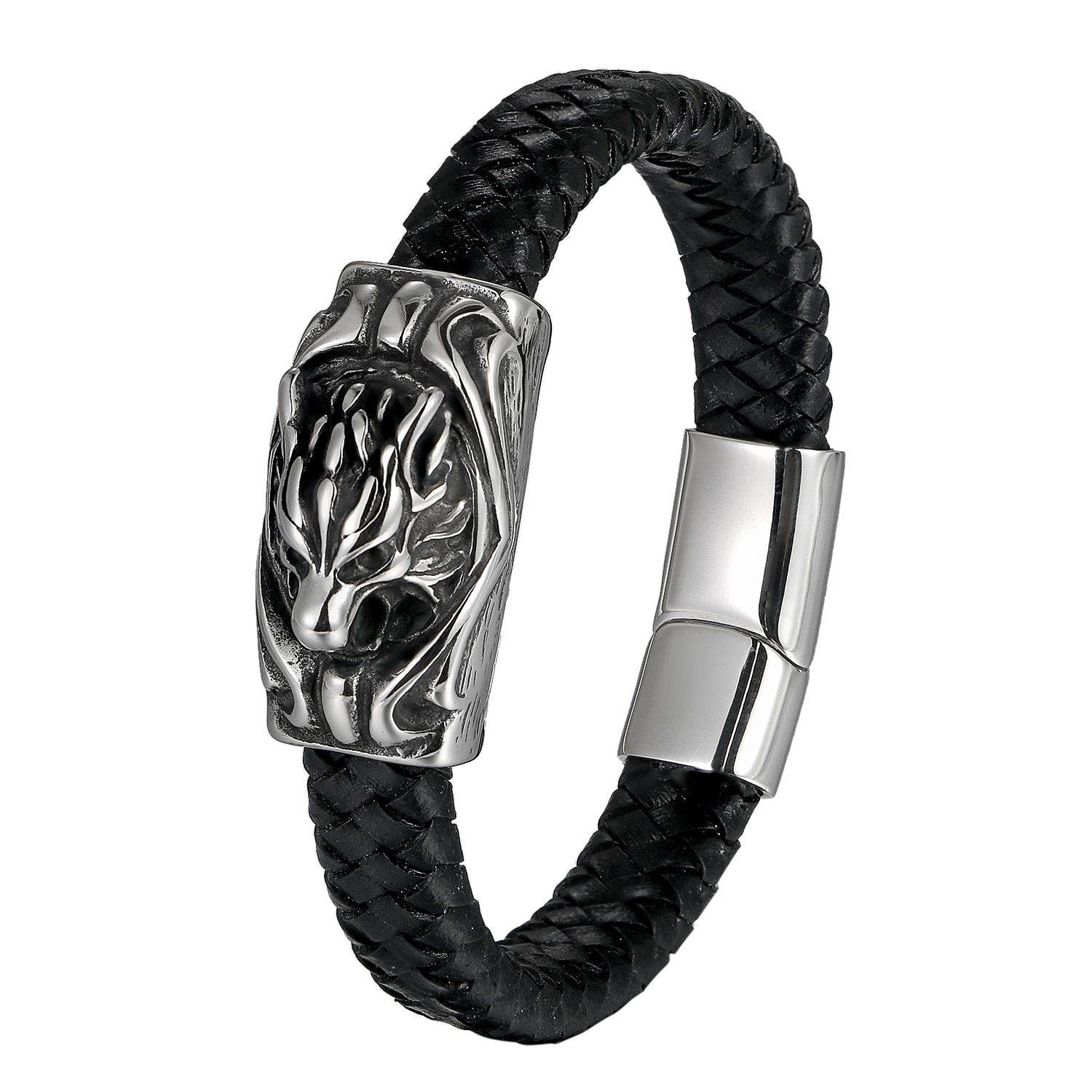 Antique Dragon Head Leather Bracelet Magnetic Clasp 316L Stainless Steel Bracelet for Men