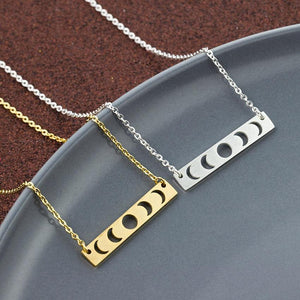 Stainless Steel Moon Phase Bar Pendant Necklace Gold Silver Choker Vintage Jewelry