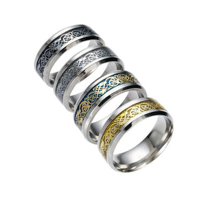 Fashion Stainless Steel  Titanium Steel Dragon Ring With Silver Golden Dragon Stainless Steel Ring  women Couple Ring Accessorie - Rebel Stones
