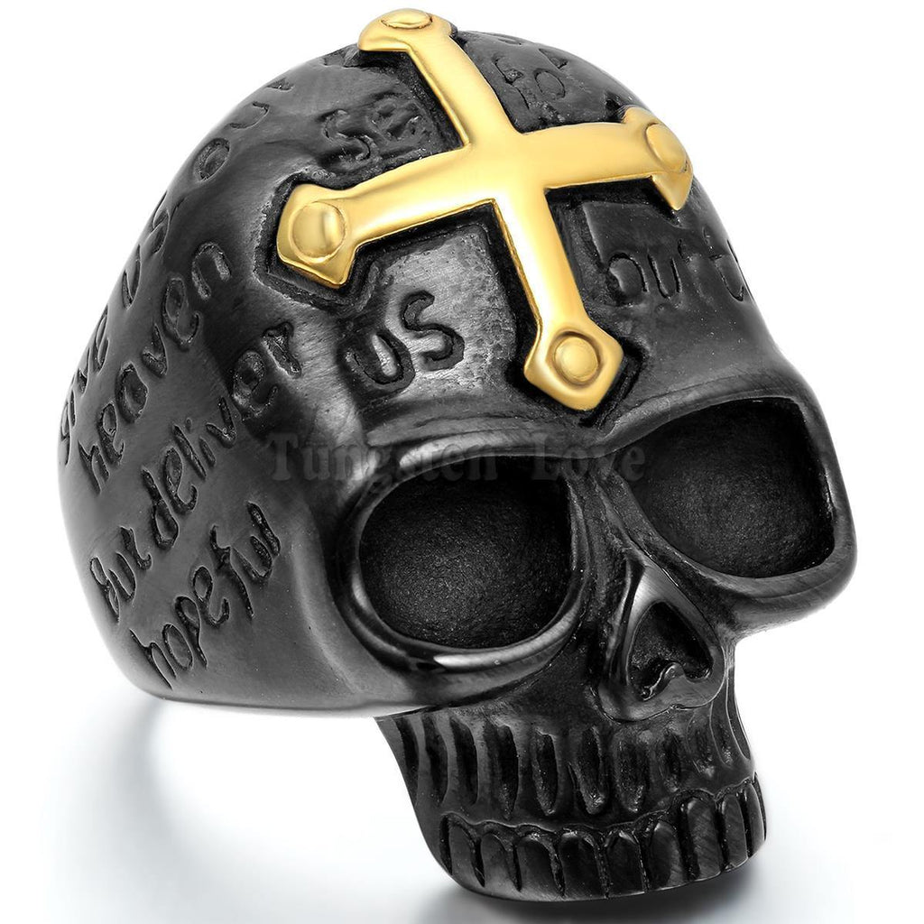 Punk Mens Ring 316L Stainless Steel Gothic Biker Gold Cross Black Skull Ring For Men