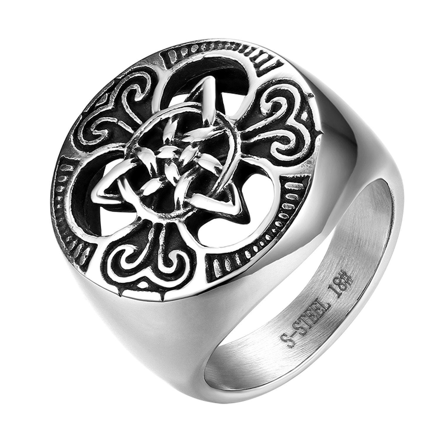 Men;s Stainless Steel Celtic Knot Ring Large Sizes U.S. shipping