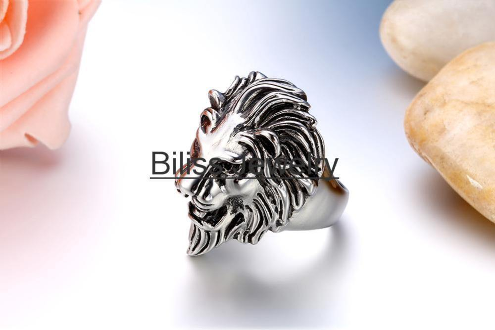 2020 New High Quality Stainless Steel Black Silver Color Lion Head Rings For Men Punk Jewelry US Size 7-14 Animal Rings