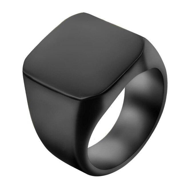 High Polished Stainless Steel Men Ring Band Biker Men's Ring Black Silver Gold Size 7-14