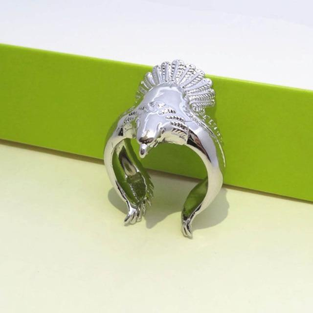 Stainless Steel Retro Eagle Wing Adjustable Open Ring Men