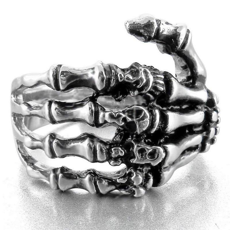 Unisex Skull Ring Hand Bone Punk Rock Skeleton Ring