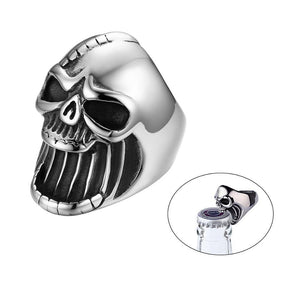 Screaming Skull Vintage Gothic Punk Skull Stainless Steel Men Rings Silver Color Biker Ring Jewelry Ring Beer Bottle Opener - Rebel Stones