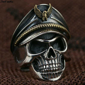 Eagle Cap copper men Punk Skull Ring - Rebel Stones