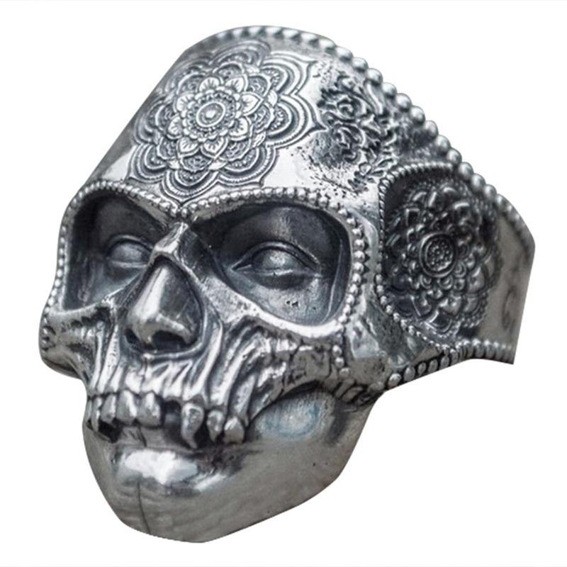 Punk Gothic Men Stainless Steel Steamed Skull Ring Retro Pattern Ring Jewelry Biker Ring