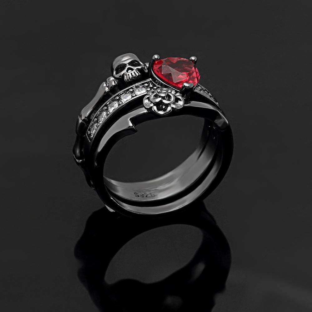 'Red Heart Crystal Skull' Ring Set