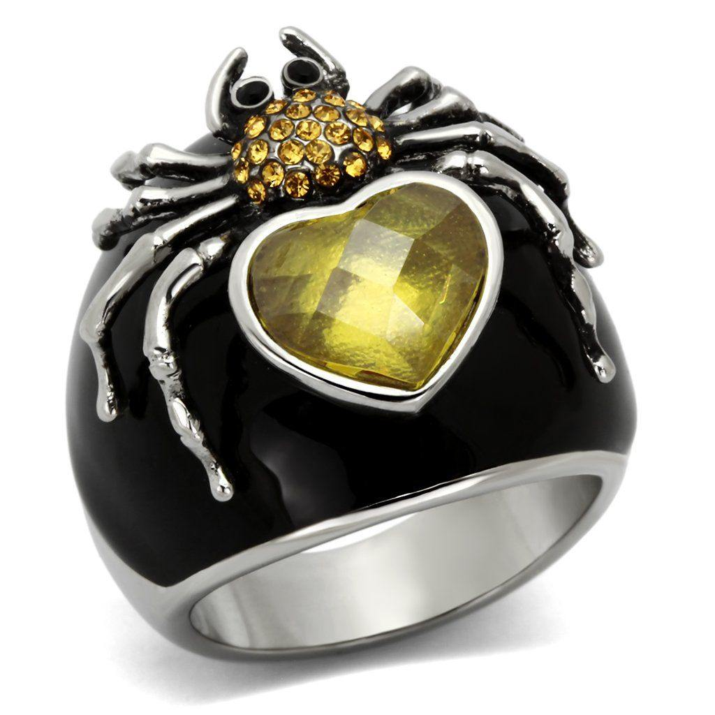 New! Heart of Gold Spider Black Enamel and Stainless Steel Ring - Rebel Stones