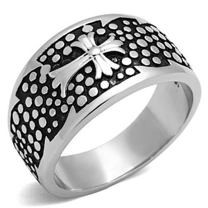 New! Cross Band Stainless Steel Ring - Rebel Stones