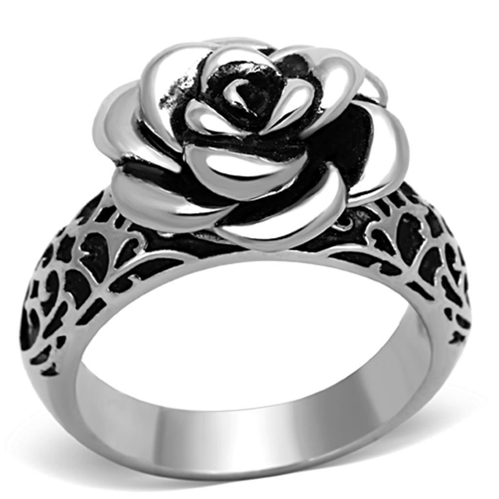 New! Stainless Steel Dark Rose Ring - Rebel Stones