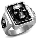 New! Framed Skull Stainless Steel Ring - Rebel Stones