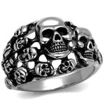 New! Halo of Skulls Stainless Steel Ring - Rebel Stones