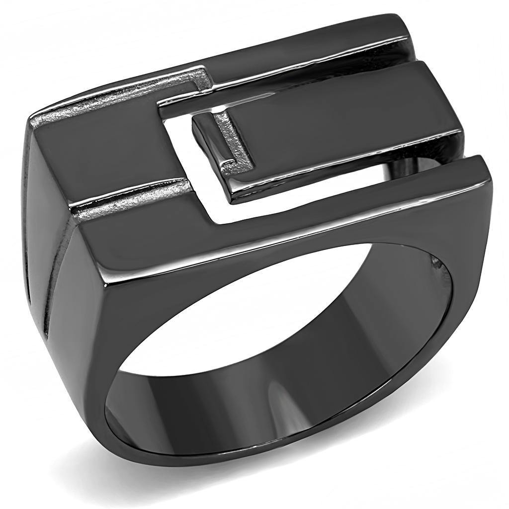 New! Light Black Gap Stainless Steel Ring - Rebel Stones