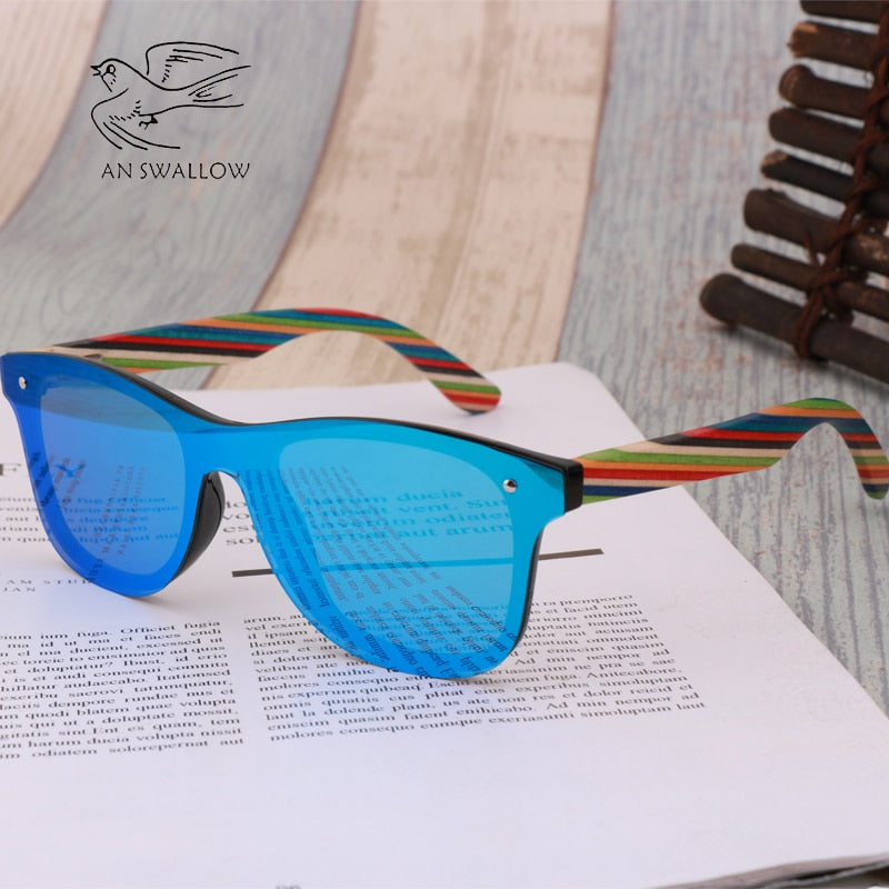 2019 Wooden Vintage Colorful Shades Handmade   Sunglasses Men Polarized Flat Lens Rimless Square Frame Women Sun Glasses