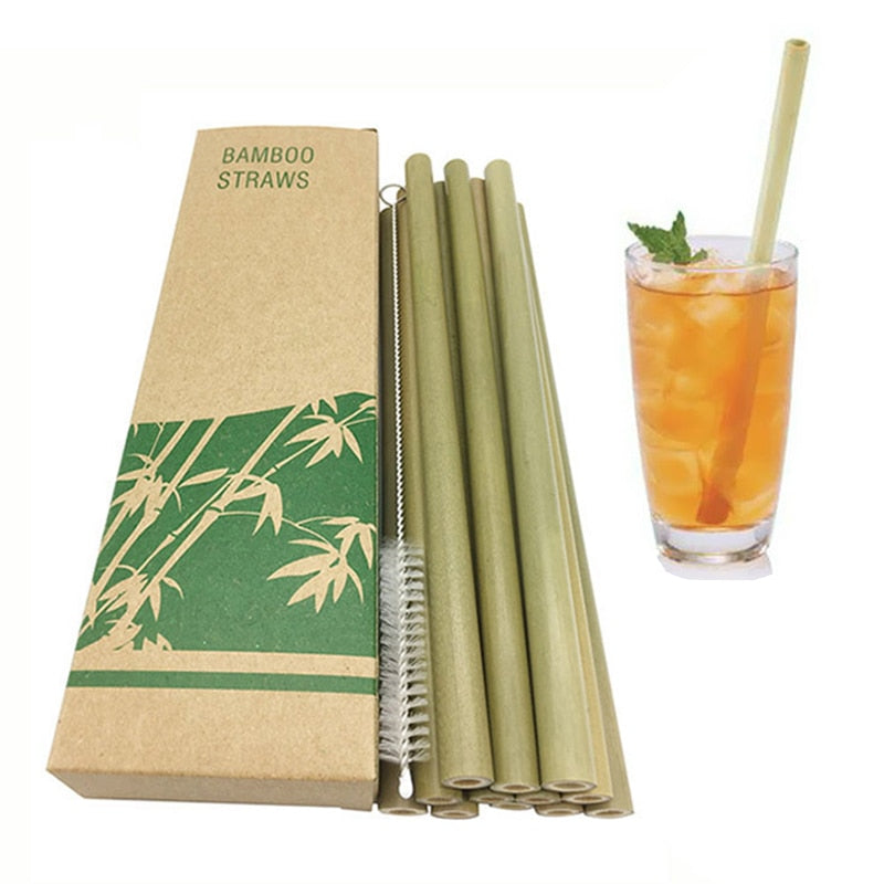 12Pcs/Set Reusable Green Bamboo Straw Natural Eco-friendly Drinking Straws Hot Drink With Cleanning Brush Wedding Accessories