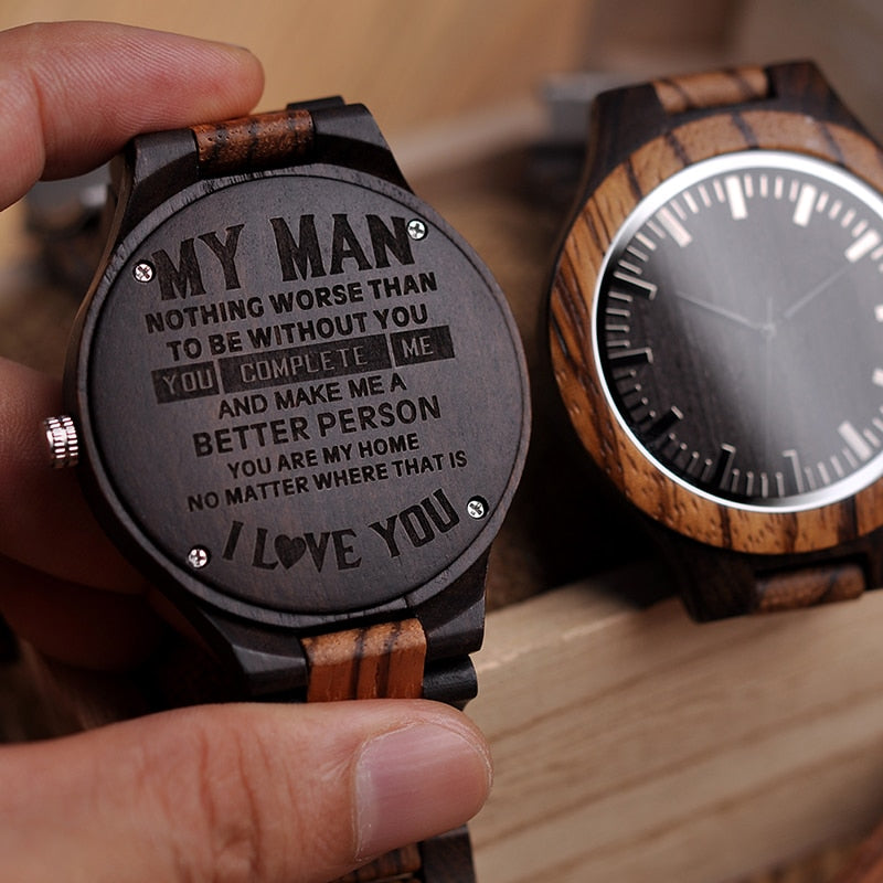 Wood Engraving Watch Men Groomsmen Personalized Watches Father's Gift Anniversary Gift a Great Gifts For Man Relogio Masculino