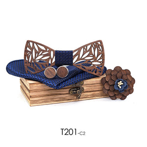 Handmade Hollow Wooden Bow Tie Cufflinks Boutonniere Handkerchief Set Business Butterfly Cravat Party Ties For Women Wood Ties