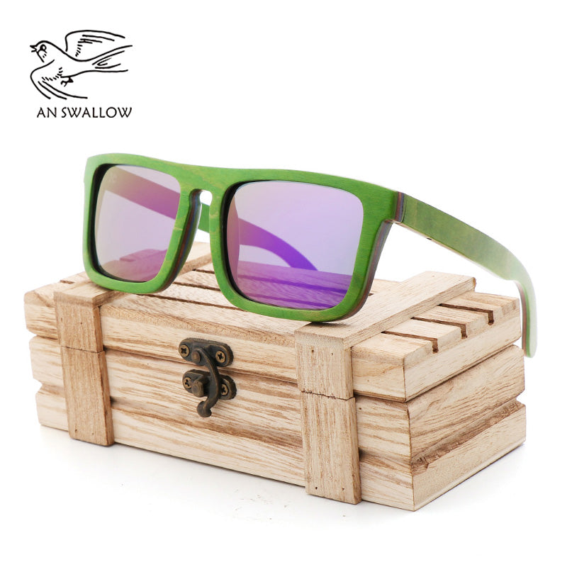 Brand designer wooden sunglasses new men's polarized green skateboard wood sunglasses with original box retro retro glasses