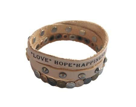 3-Dubbele Leren Wikkelarmband - Love, Hope, Happiness - Fashion4