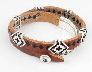 Armband - Cross Leather - Bruin / Leer - Fashion4