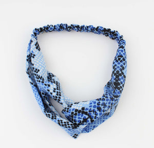 Blauwe Hoofdband - Tammy - Snake Look Print - Fashion4