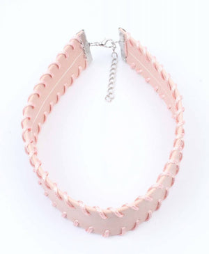 Choker met stiksel pastel rose - Fashion4
