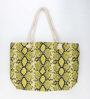 Gele Shopper Tas - Trendy Slangenprint 52x13x35cm - Fashion4