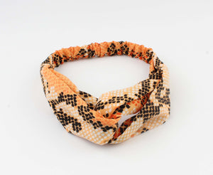 Oranje Hoofdband - Tammy - Snake Look Print - Fashion4