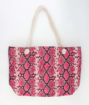 Roze / Fuchsia Shopper Tas - Trendy Slangenprint 52x13x35cm - Fashion4