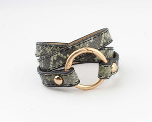 Wikkelarmband - Rock it - Groen / Zwart Slangenprint - Fashion4