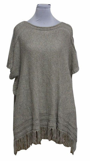 Zachte Poncho-Pullover met Gestreepte band/rand - Fashion4