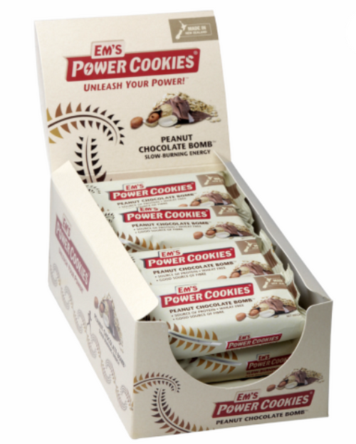 EM'S POWER COOKIES, PEANUT CHOCOLATE BOMB BAR – 12 BOX